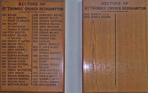 Rectors from 1303 onwards - Bedhampton Parish