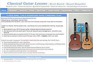 Classical Guitar Lessons - Derek Hasted - one-to-one tuition